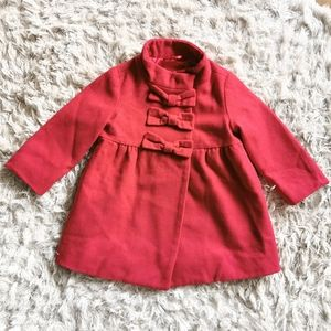 Gap red wool peacoat with bows size 2 years
